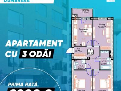 Apartament cu 3 odai in Dumbrava!