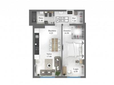 Apartament cu 2 odăi, 60 m2 , centru!