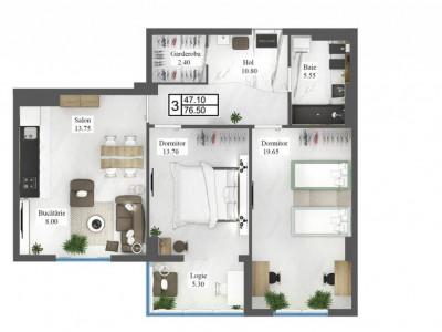 COMPLEX STERE 2, apartament 2 odăi cu două balcoane, planimetrie atractivă!