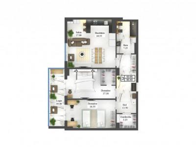 Apartament cu 3 odăi, varianta albă, centru, complex de lux!