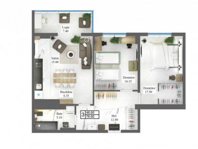 Apartament cu 3 odăi, varianta albă, centru, priveliște superbă!