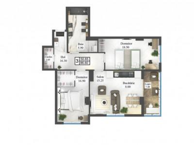 Apartament 3 odăi, STERE 2!